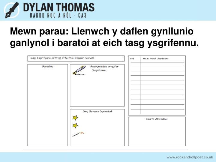 Mewn parau: Llenwch y daflen gynllunio ganlynol i baratoi at eich tasg ysgrifennu.