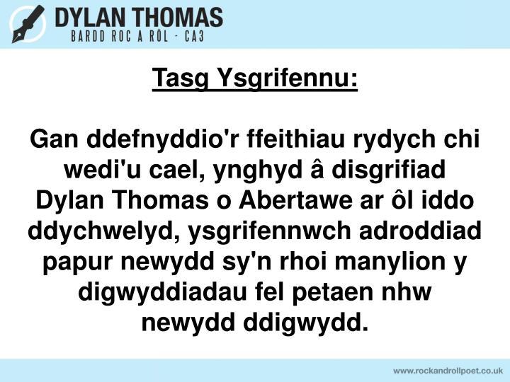 Tasg Ysgrifennu: