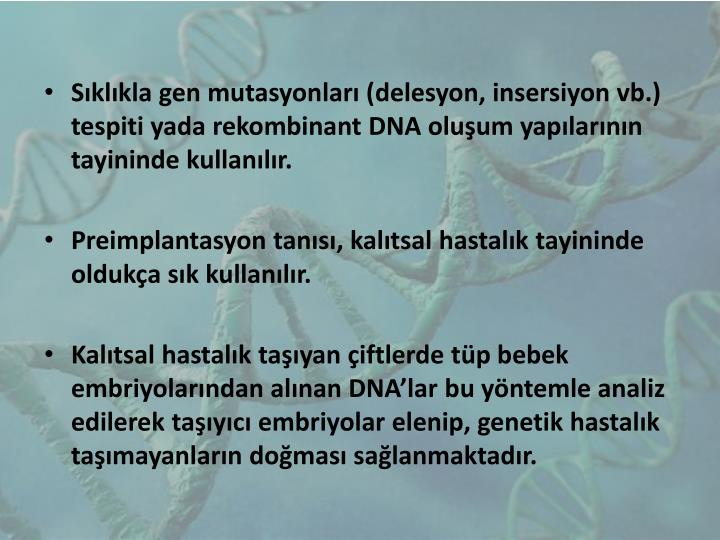Sıklıkla gen mutasyonları (