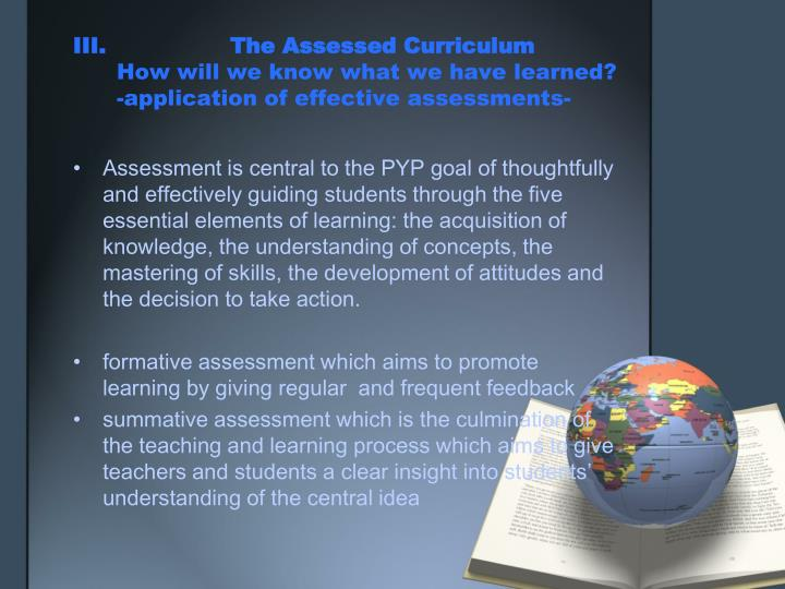III. The Assessed Curriculum