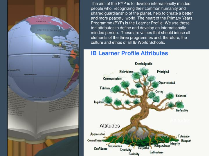 The aim of the PYP is to develop internationally minded people who, recognizing their common humanity and shared guardianship of the planet, help to create a better and more peaceful world. The heart of the Primary Years Programme (PYP) is the Learner Profile. We use these ten attributes to define and develop an internationally minded person.