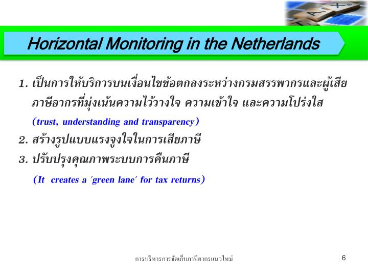 Horizontal Monitoring in the Netherlands