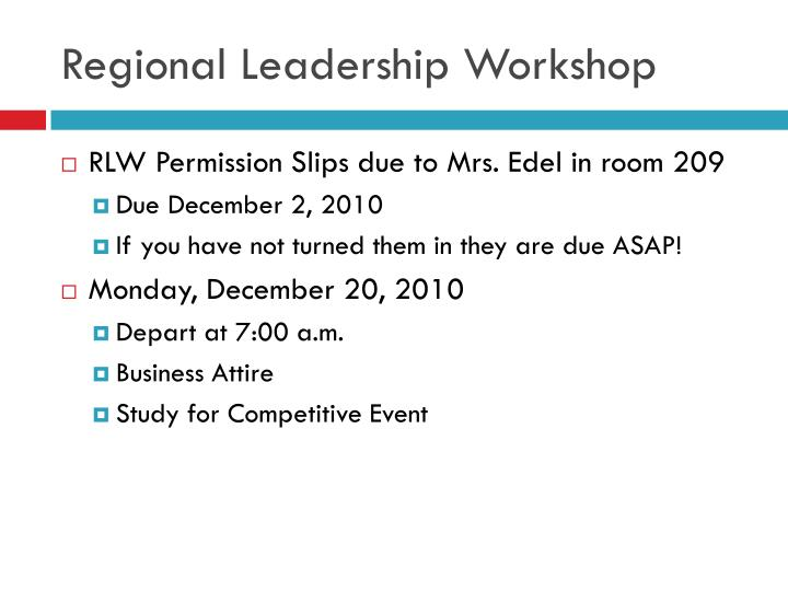 Regional Leadership Workshop