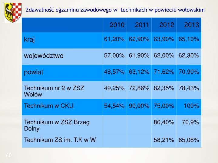 Zdawalność egzaminu zawodowego w  technikach w powiecie wołowskim