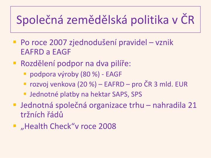 Společná zemědělská politika v ČR