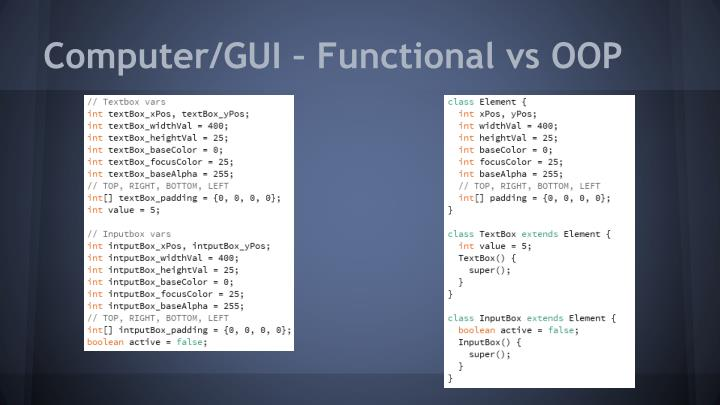 Computer/GUI – Functional vs OOP