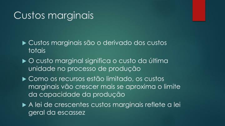 Custos marginais