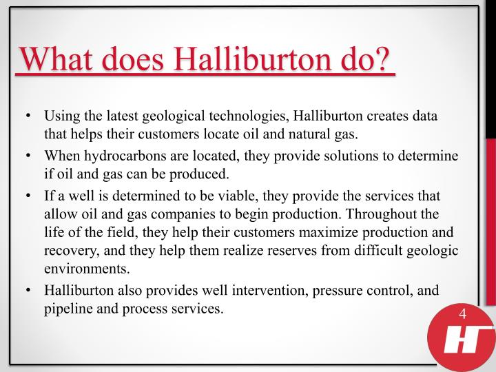 What does Halliburton do?