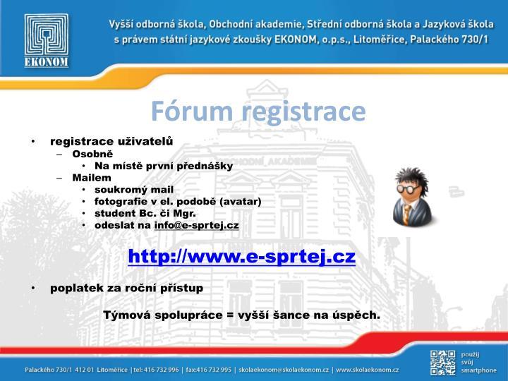 Fórum registrace