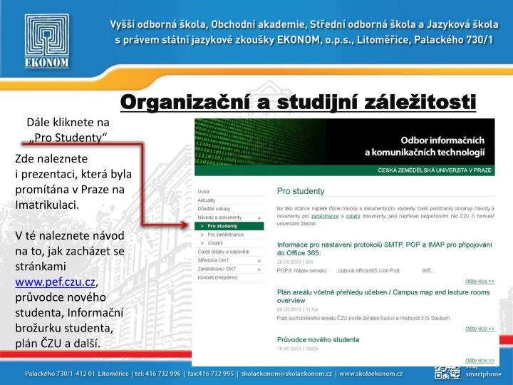 Organizační a studijní záležitosti