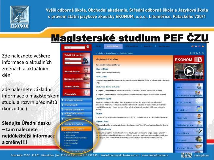 Magisterské studium PEF ČZU