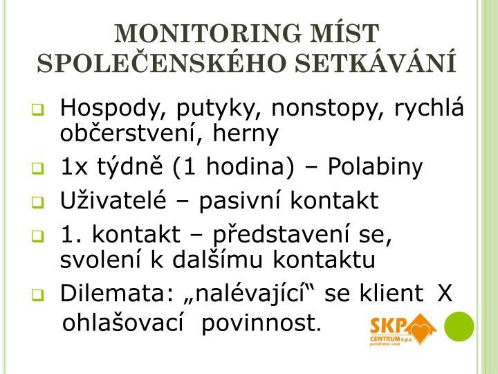 Monitoring míst společenského setkávání
