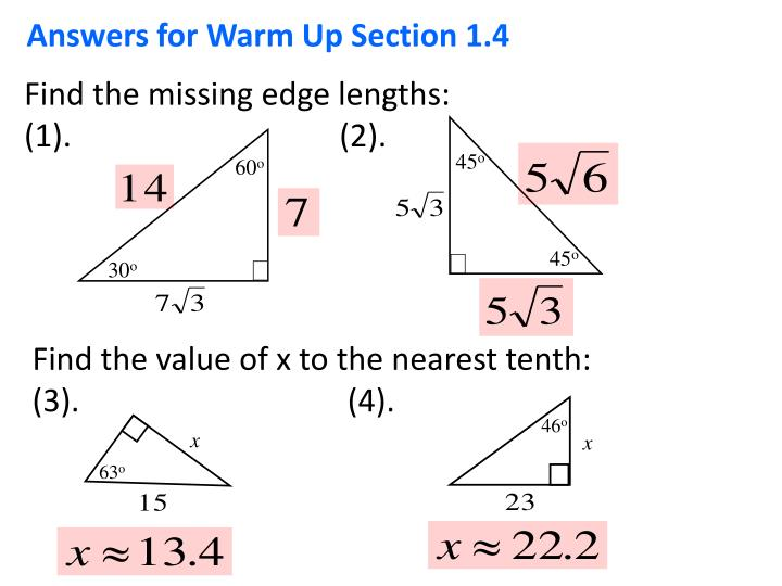 Answers for Warm Up Section 1.4