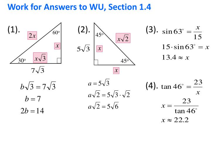 Work for Answers to WU, Section 1.4