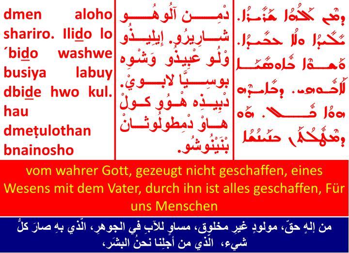 vom wahrer Gott, gezeugt nicht geschaffen, eines Wesens mit dem Vater, durch ihn ist alles geschaffen, Für uns Menschen
