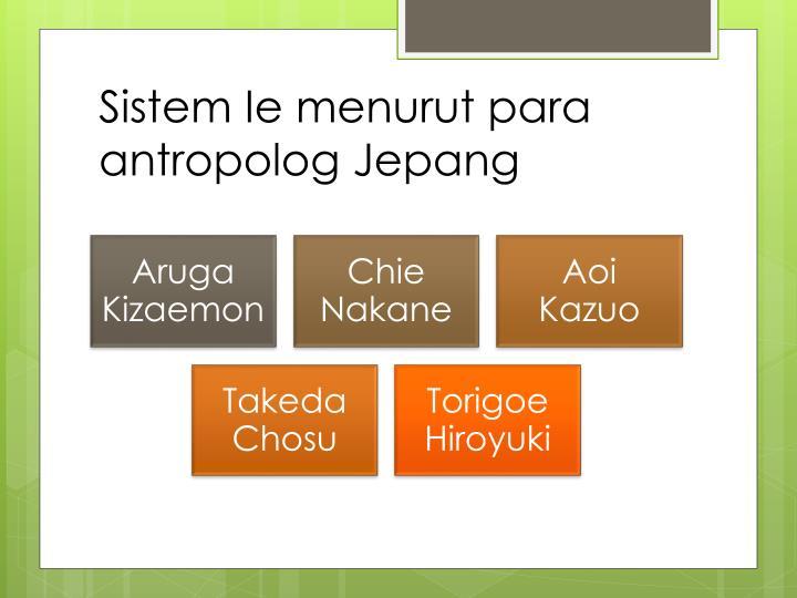 Sistem Ie menurut para antropolog Jepang