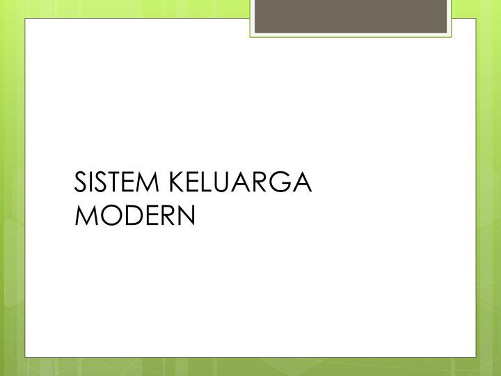 SISTEM KELUARGA MODERN