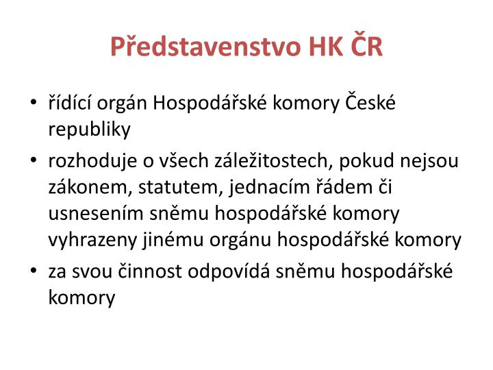 Představenstvo HK ČR