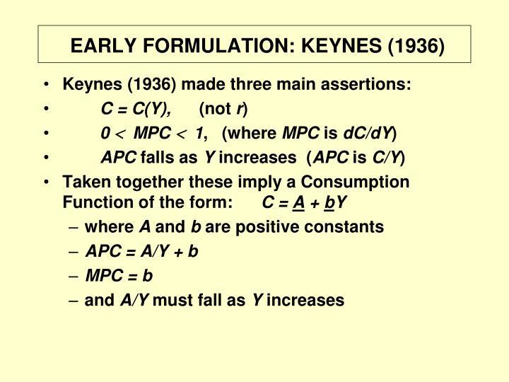 EARLY FORMULATION: KEYNES (1936)