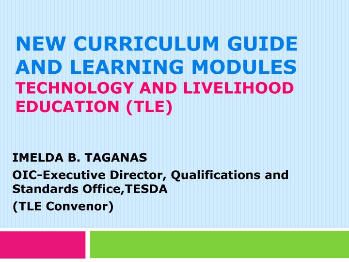 thesis in technology and livelihood education Science and technology  technology and livelihood education home economics industrial arts computer education tle assessment for grade 9 music, arts, pe .