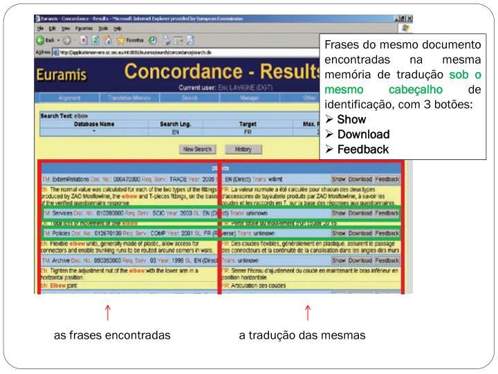 Frases do mesmo documento encontradas na mesma memória de tradução