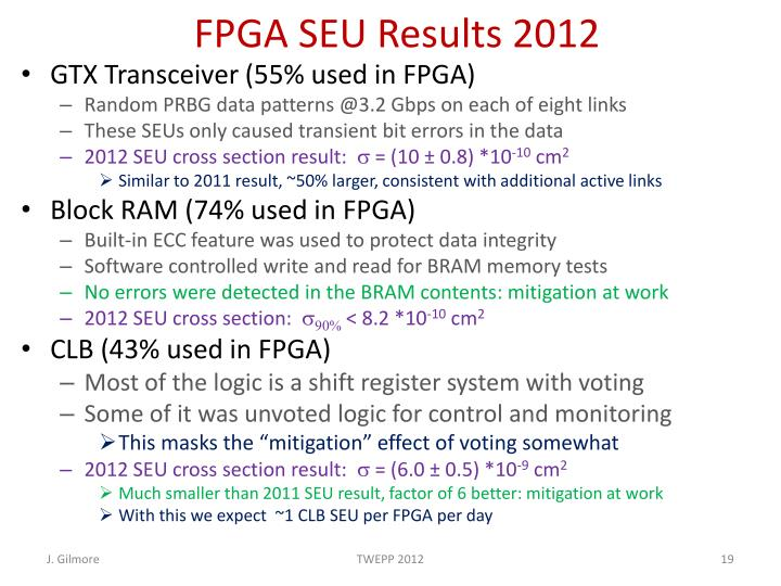FPGA SEU Results 2012