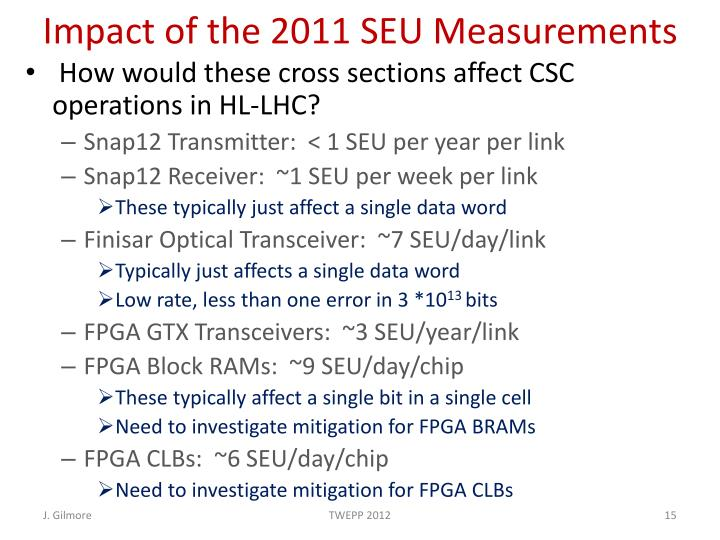 Impact of the 2011 SEU Measurements