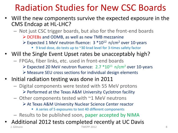 Radiation Studies for New CSC Boards