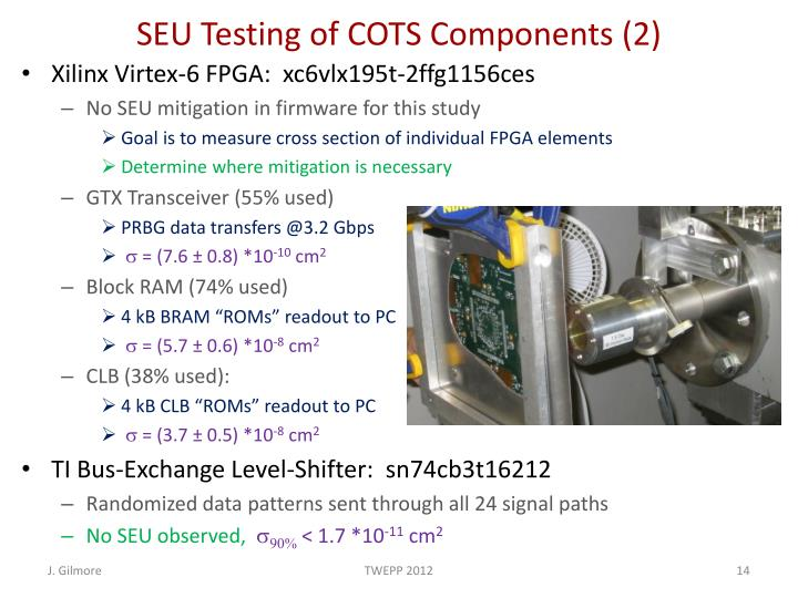 SEU Testing of COTS Components (2)