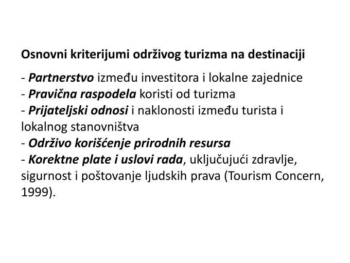Osnovni kriterijumi održivog turizma na destinaciji
