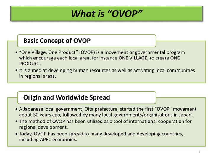 "What is ""OVOP"""