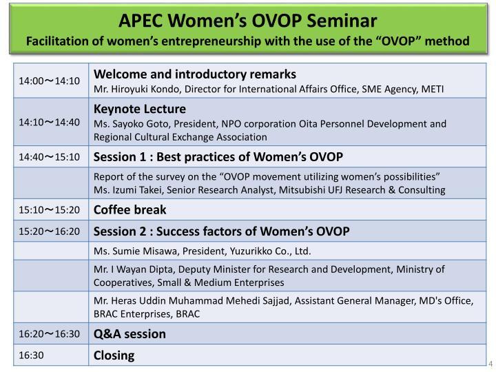 APEC Women's OVOP Seminar