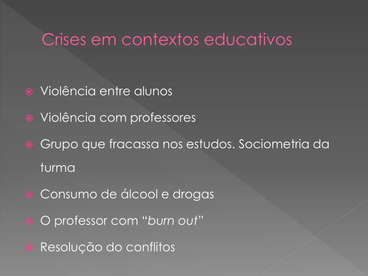 Crises em contextos educativos