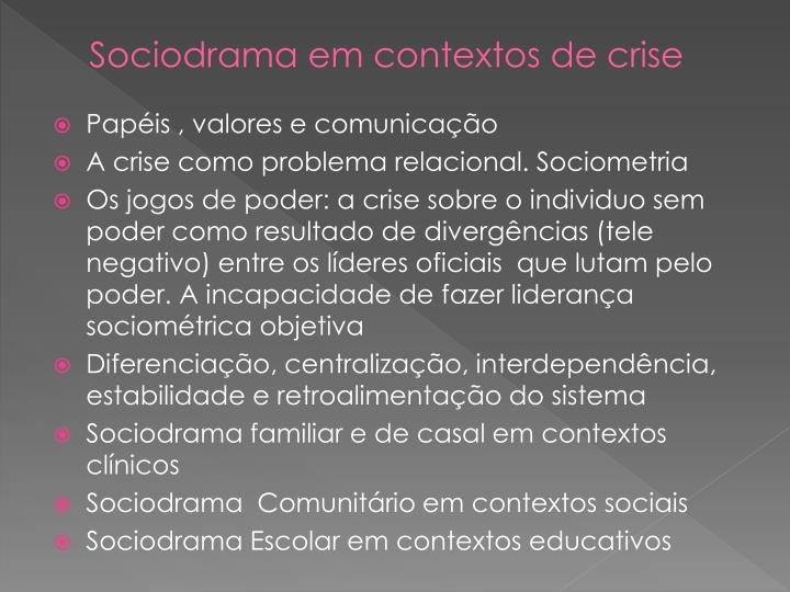 Sociodrama em contextos de crise