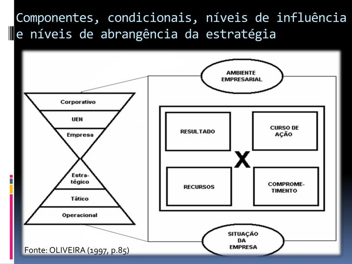 Componentes, condicionais, níveis de influência e níveis de abrangência da estratégia