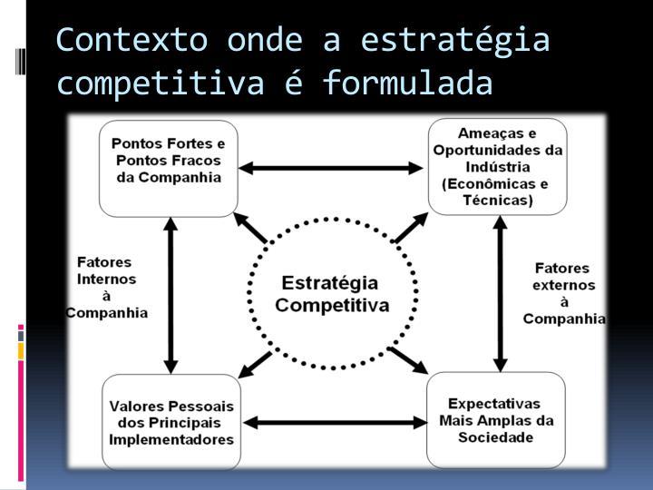Contexto onde a estratégia competitiva é formulada