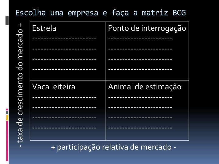 Escolha uma empresa e faça a matriz BCG