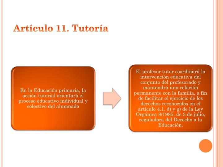 Artículo 11. Tutoría
