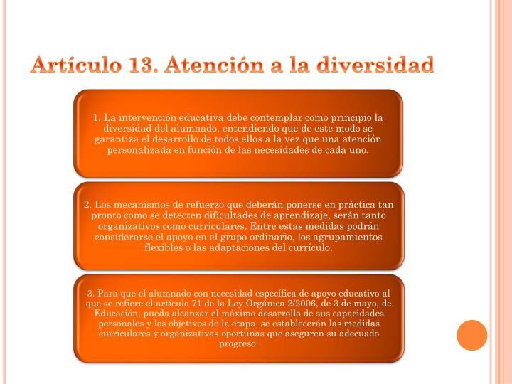 Artículo 13. Atención a la diversidad