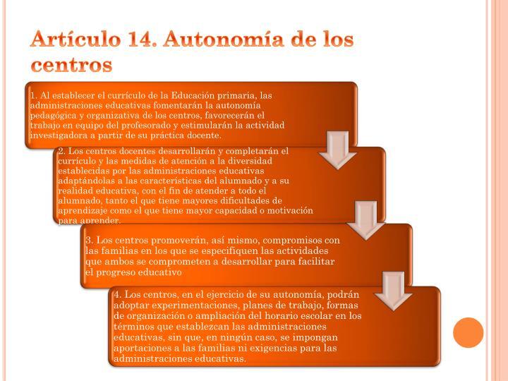 Artículo 14. Autonomía de los centros