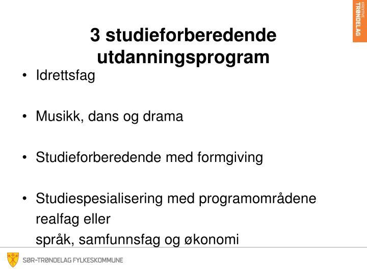 3 studieforberedende utdanningsprogram