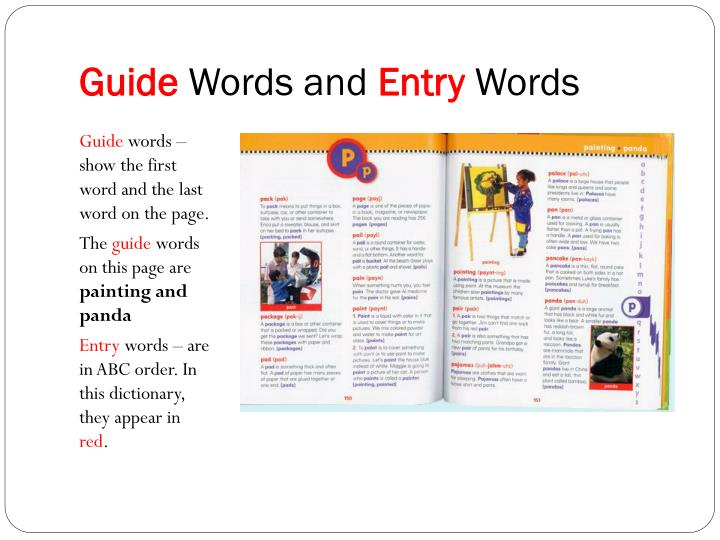 Guide words and entry words