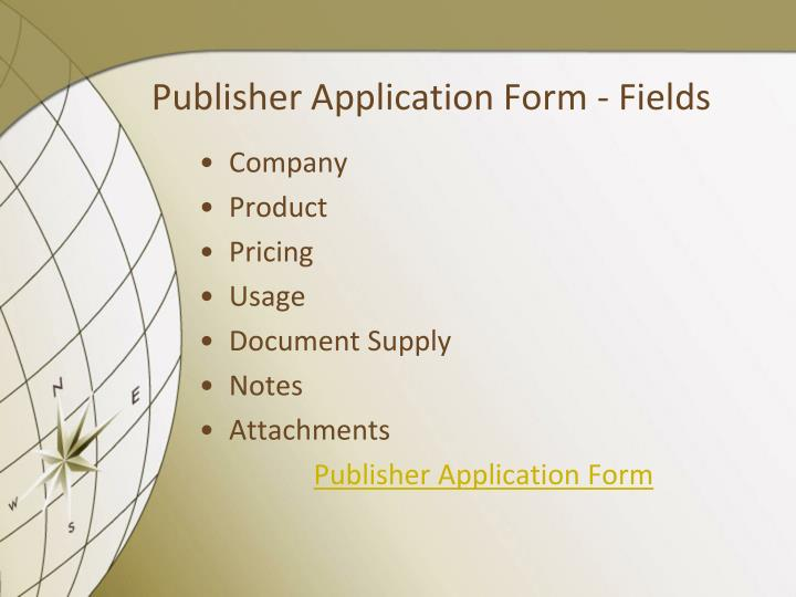 Publisher Application Form - Fields