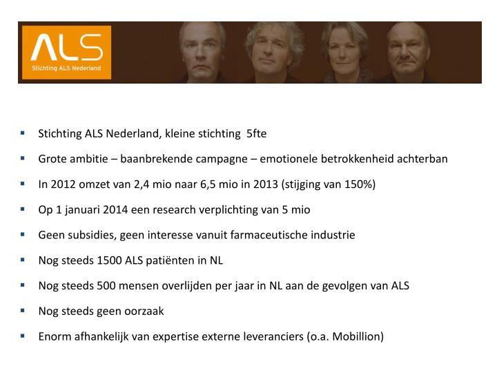 Stichting ALS Nederland, kleine stichting  5fte
