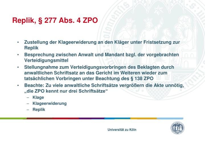 Replik, § 277 Abs. 4 ZPO