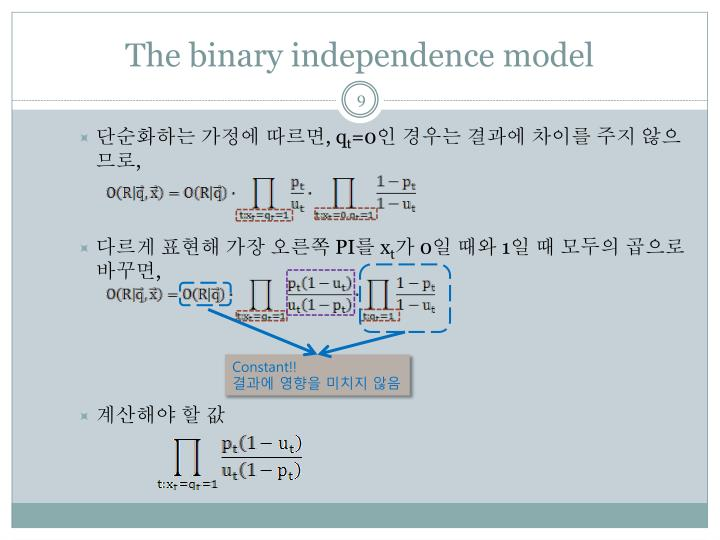 The binary independence model