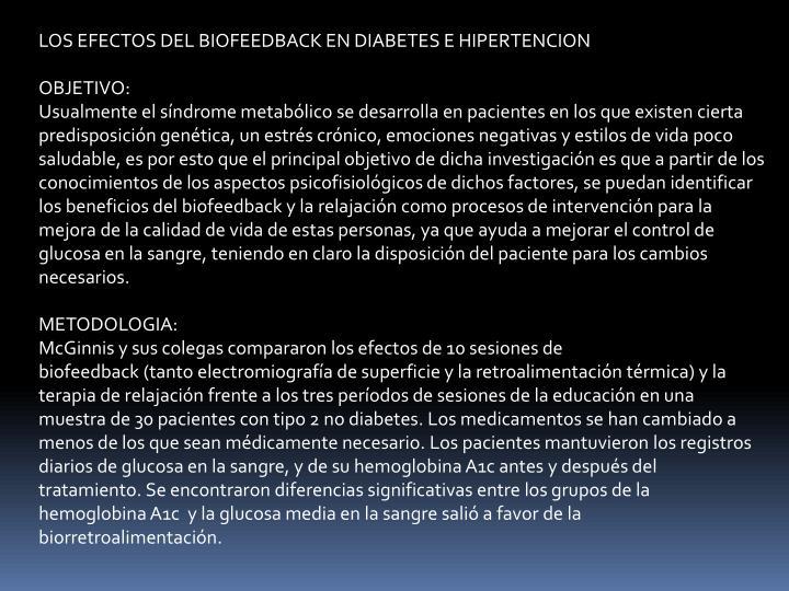 LOS EFECTOS DEL BIOFEEDBACK EN DIABETES E HIPERTENCION