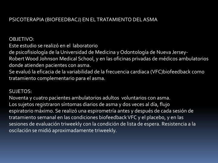PSICOTERAPIA (BIOFEEDBACJ) EN EL TRATAMIENTO DEL ASMA