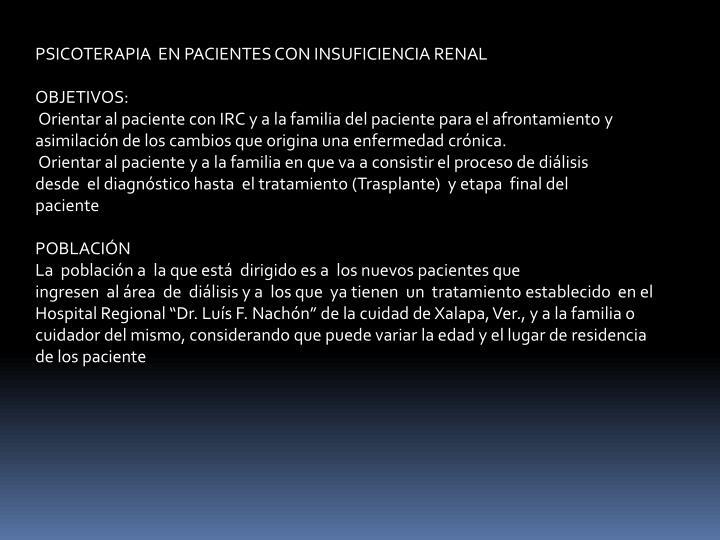 PSICOTERAPIA  EN PACIENTES CON INSUFICIENCIA RENAL