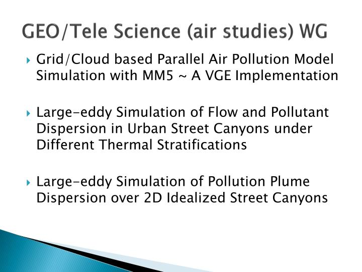 Geo tele science air studies wg1